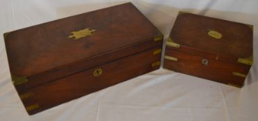 2 Victorian writing slopes with brass mounts (AF inc part of interiors missing)