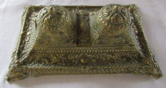 Brass ornate double inkwell stand with liners 27 cm x 17 cm