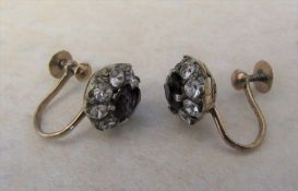 Tested as 9ct gold pair of spinel and paste cluster earrings (missing one stone) total weight 2.7 g
