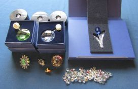 Assorted Swarovski crystal inc paperweight, flower and pig, 2 boxed hanging crystals, light boxes