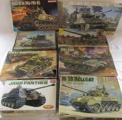 Various model kits inc Academy M-18 hellcat tank, JAGD panther, M-10 tank, Dragon M4A3 HVSS POA-