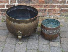 Brass two handled jardiniere & a copper jardiniere