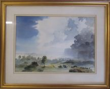 Framed watercolour by Lincolnshire artist John Brookes of a stormy landscape 49 cm x 39.5 cm (size