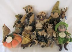 10 named Daria Sikora OOAK handmade animals inc Dorothy - giraffe, Madlaine - hippo, Alex - rabbit