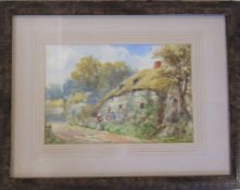 Framed watercolour by W Harford of a country cottage 45 cm x 35 cm (size including frame)