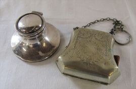 Silver capstan inkwell (missing lining) Chester 1920 D 8 cm H 4.5 cm together with silver plated
