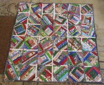 Large Christmas themed patchwork quilt 160 cm x 160 cm