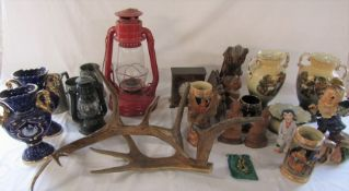 Various items inc Tornado lamp, Gold Circle mantel clock, antlers etc