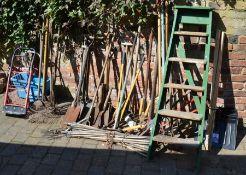Various gardening tool, snow shovels & wooden steps