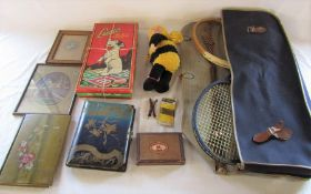 Old ludo box with ludo board and snakes & ladders board, Ann Geddes bee doll, vintage slazenger