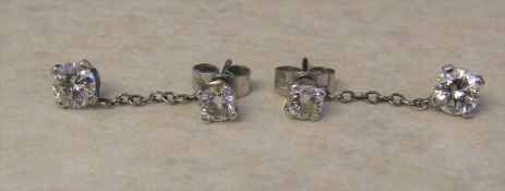 Pair of 18ct gold diamond set stud / drop earrings (with small jump ring to thread onto each stud