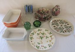 Various ceramics and glassware etc inc Wedgwood, Portmeirion and dump weight