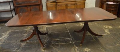 Twin pedestal reproduction Georgian mahogany dining table with removable leaf 224 cm x 114 cm