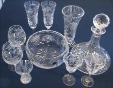 Selection of matching Royal Brierley crystal inc bowl, vase and decanter