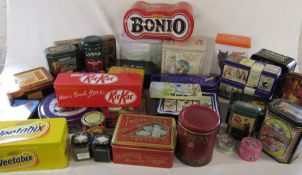 Various tins inc Kitkat, Weetabix, After eight and Thorntons (2 boxes)