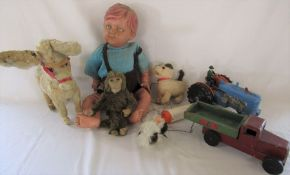 Various retro toys inc doll, chad valley and battery operated dog