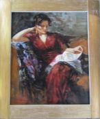 After Pino Daeni - large framed oil on board of a lady seated reading 65 cm x 75 cm (size