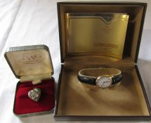 Boxed Ladies Longines quartz watch and a micro mosiac heart brooch