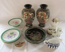 Various ceramics inc pair of Satsuma vases, Carlton ware bowl and Royal Crown derby (af)