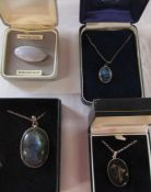 Sterling silver and blue lace agate brooch & 3 silver pendants and necklaces inc New Zealand paua