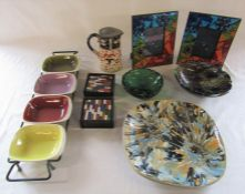 Various vintage ceramics and glassware inc studio pottery and Denby & mosiac photo frames and