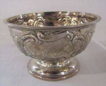 Small Victorian silver pedestal bowl with repousse flowers and swags decoration Chester 1898 H 6