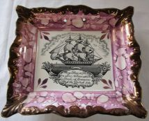 Large Sunderland lustre plaque with ship and verse, impressed with Dixon Phillips & Co mark L 22 cm