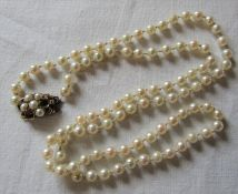 String of pearls with 9ct gold and seed pearl clasp (missing some seed pearls)