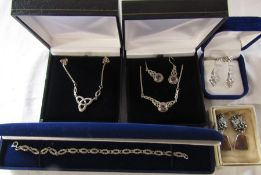 Various boxed silver jewellery inc earrings, bracelet and necklaces
