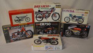 7 Honda motorcycle kits inc Revell, Tamiya & Lindberg