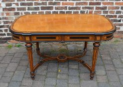 High quality reproduction Victorian library table with burr wood veneer top inset with ebony