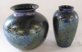 Royal Brierley iridescent vase H 16.5 cm & one other H 15.5 cm