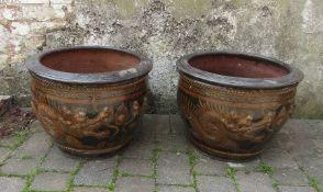 Pair of large Oriental / dragon planters H 40 cm D 55 cm