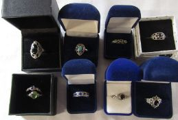 Selection of 9 ladies silver rings (8 boxed)