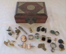 Small jewellery box containing costume jewellery and cufflinks some silver