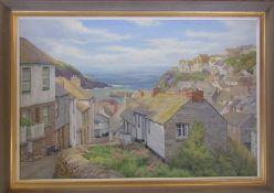 Framed acrylic painting 'Port Isaac' by Leonard Brooks, signed Len Brooks lower left corner 85 cm