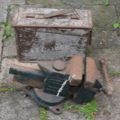 Bench vice & an ammunition case