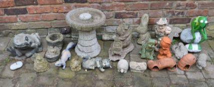 Collection of concrete etc garden ornaments & a bird bath