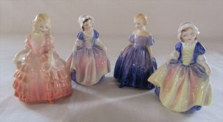 4 small Royal Doulton figurines - Rose, Marie, Dinky Do (2) H 12 cm