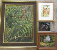 Selection of animal paintings inc oil on board of a partridge by M Budd and oil on canvas of parrots