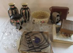 Assorted ceramics and glassware, records, Mrs Beeton cook book and a cased G B-Bell & Howell 624