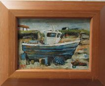 Framed and glazed oil on board painting of a fishing boat by Isle of Coll artist Crawford
