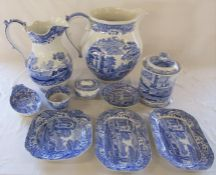 Selection of Spode Italian inc large jug H 31 cm, wash jug H 30 cm and biscuit barrel