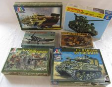 6 Italerie model kits inc Sherman allied standard tank, commando car, 5cm PAK 3 with servants and