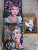 3 mixed media portrait paintings by Patricia Bowditch (largest 50 cm x 40 cm)