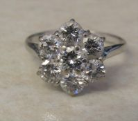 18 ct white gold diamond cluster / daisy ring 1.8 ct total, size O/P weight 3.7 g D 12 mm