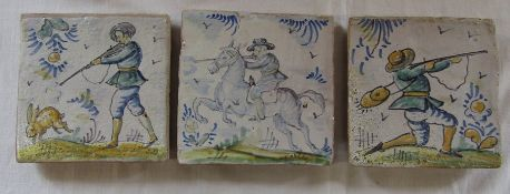 3 maiolica tiles featuring game shooting scenes 12.5 cm x 12.5 cm