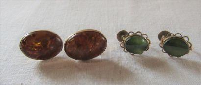 Pair of 9ct gold amber earrings 17 mm x 13 mm 3.4 g & pair of 18 K gold jade earrings 12 mm x 10