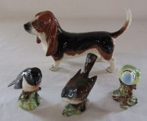 Beswick basset hound dog L 19.5 cm & 3 Beswick birds - stonechat, whitethroat and blue tit