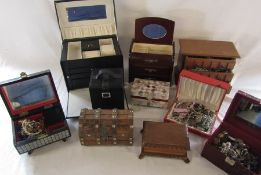 Various jewellery boxes some containing costume jewellery